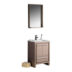 "Fresca - Fresca Allier 24"" Modern Bathroom Vanity - Grey Oak - The Fresca 24"" Allier is a compact free standing vanity with plenty of storage space. This model is accented nicely with a matching mirror with small shelf."