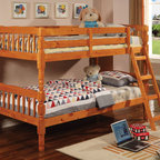 Coaster - 5040 Twin/Twin Bunk Bed - With charming casual style, this twin bunk bed is a perfect space saving solution for your child's bedroom. Turned detail and subtle curves contribute to warm and relaxed designs, while the built-in guard rail and ladder add to safety and convenience. These two beds can also be pulled apart for use as two separate twin beds and not stacked as a bunk bed. Shown in medium pine.