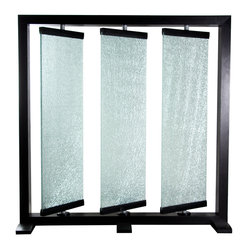 Triple Panel Crackled Glass Room Partition by Diamond Sofa