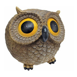 EttansPalace - Wide Giant Eye Hilarious Garden Owl Statue - Our adorable owl statue sees all in the garden! With a captivating big eye gaze and roly-poly feathered finery, our owl sculpture showcases her garden villigance! With an intelligent, twinkling-eyed face, our owl statue hoots with pleasure from her giant eyes to puffy body. Cast in quality designer resin and hand-painted one piece at a time.