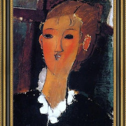 """Art MegaMart - Amedeo Modigliani Young Woman Small Ruff - 16"""" x 24"""" Amedeo Modigliani Young Woman with a Small Ruff framed premium canvas print reproduced to meet museum quality standards. Our Museum quality canvas prints are produced using high-precision print technology for a more accurate reproduction printed on high quality canvas with fade-resistant, archival inks. Our progressive business model allows us to offer works of art to you at the best wholesale pricing, significantly less than art gallery prices, affordable to all. This artwork is hand stretched onto wooden stretcher bars, then mounted into our 3 3/4"""" wide gold finish frame with black panel by one of our expert framers. Our framed canvas print comes with hardware, ready to hang on your wall.  We present a comprehensive collection of exceptional canvas art reproductions by Amedeo Modigliani."""