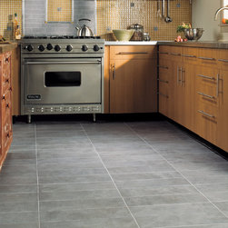 """Kitchen Floor - Daltile Concrete Connection in Steel Structure 6.5""""x20"""" straight joint on the floor."""