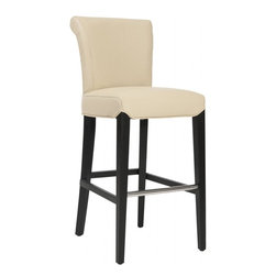 Safavieh - Theodore Barstool - The clean lines of the Theodore Bar Stool make it just right for any home, traditional to contemporary. Featuring a solid birch wood frame with a black finish, Theodore offers comfortable seating at the just right height of 30 inches. The seat and back are upholstered in cream-colored bicast leather enhanced with a gentle curved back for added comfort and style. No assembly required.