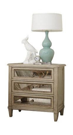Hooker Furniture - Three Drawer Nightstand, Pearl Essence - It's sure to be a good night with this lovely little stand by your side. Awash in softly layered oyster and cream finishes, three drawers are outlined with egg and dart molding, while two are lined with felt and cedar. It all adds up to one special way to begin and end your nights.