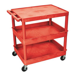 Luxor Furniture - Tub Cart in Red w 3 Shelves - Four heavy duty 4 in. casters, two with brake. Stain, scratch, dent and rust resistant. Retaining lip around back and sides flat shelves. Push handle molded into top shelf. Shelves reinforced with two aluminum bars. Made of high density polyethylene structural foam molded plastic. Made in USA. Shelf: 2.75 in. deep. Clearance between shelves: 11.75 in.. Overall: 32 in. L x 24 in. W x 36.5 in. H. Warranty. Assembly Instructions