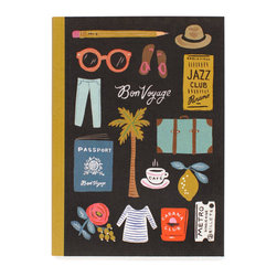 Bon Voyage Travel Notebook - Document your travels abroad or in your very own city with this beautiful notebook. Fashioned with a colorful linen cover and a natural vellum paper interior, this ruled notebook is constructed to receive only the most memorable events.