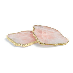 Kivita Coaster - Rose Quartz / Gold - A stunning complement to the Kiva platters or to your eclectic dinnerware, the Kivita Coasters - Crystal and Silver present libations in a distinctive fashion. Each coaster boasts a luminous ancient agate stone with a delicate rim of glimmering gold. Their distinctive design makes them a welcome addition to your finest tableware or a treasured gift for your favorite host. As the coasters are a natural product, variations in color and pattern are to be expected. Available as a set of two.