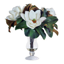 Jane Seymour Botanicals - Magnolias in Glass Vase - Bring a splash of Southern grandeur to your home with this exquisite permanent magnolia display. The lush, white blooms and rich green leaves are anchored in a footed glass vase featuring a water illusion for added realism. An easy way to add a year-round touch of elegance to any room of your home.