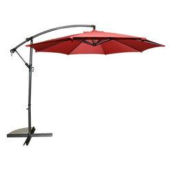 10Ft Octagonal Cantilevered Umbrella w/ Tilt & Crank & Base- Beige -