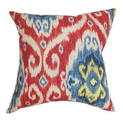 The Pillow Collection - Deandre Red and Blue 18 x 18 Ikat Throw Pillow - - Pillows have hidden zippers for easy removal and cleaning  - Reversible pillow with same fabric on both sides  - Comes standard with a 5/95 feather blend pillow insert  - All four sides have a clean knife-edge finish  - Pillow insert is 19 x 19 to ensure a tight and generous fit  - Cover and insert made in the USA  - Spot clean and Dry cleaning recommended  - Fill Material: 5/95 down feather blend The Pillow Collection - P18-D-42256-REDBLUE-C70L30