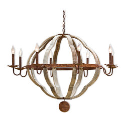 Kathy Kuo Home - Redford Rustic Lodge Wood 8 Light Quatrefoil Chandelier - A quaint, quatrefoil design gets a Rustic Lodge treatment with textured bronze detail. Eight elegant candelabra lights glow forth from sculpted bronze holders. The three-dimensional wood chandelier welcomes all your guests to relax in casual comfort.