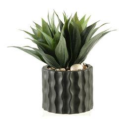 D&W Silks - D&W Silks Agave Plant In Round Ceramic Planter With Ripples - Agave plant in round ceramic planter with ripples