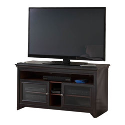 Bush - Bush Stanford Flat Panel TV Stand in Antique Black Finish - Bush - TV Stands - MY5396003 - Combining traditional detail and contemporary functionality the Bush Signature Stanford 60��� flat panel TV stand is a comfortable addition to any home. This versatile stand/console features an open center bay with an adjustable shelf perfect for vertical gaming and game storage. Two framed tempered glass doors house two adjustable shelves for component storage and handy rear access for concealed wire management. Decorative dentil molding European style self-closing adjustable hinges and antique black finish round out the stands incredible features. The stand is compatible with the Stabilibar TV Safety Brace and has been tip tested with your familys safety in mind. A coordinating audio cabinet (AD53940-03) is available to complete the stylish look.