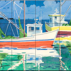 The Tile Mural Store (USA) - Tile Mural - Fishing Boats At Sea - Kitchen Backsplash Ideas - This beautiful artwork by Paul Brent has been digitally reproduced for tiles and depicts two fishing boats at sea.  Tile murals with ships and decorative ship tiles are timeless and are excellent to add to your kitchen backsplash tile project or your tub and shower surround bathroom tile project. Images of ships on tiles and pictures of sailboats on tiles add a unique element to your tiling project and are a great kitchen backsplash idea for a coastal home. Use a decorative tile mural of ships and boats for a wall tile project in any room in your home where you want to add interest to a plain field of wall tile. Bathrooms always look best with the addition of decorative wall tiles so why not add a tile mural with the image of a ship?