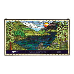 Meyda - Meyda Tiffany Personalized Sunset Meadow Stained Glass Window - Instantly Transport Yourself From Your Home To The Heart of A Scenic Mountain Vista When Viewing This Customized Stained Glass Window From Meyda Tiffany. This Tranquil Lakeside Summer Scene with Iris In Bloom is A Nancy Parker Original Design Handcrafted Using Lc Tiffany's Time-Honored Copper Foil Construction Technique. This Art Glass Masterpiece Can Be Customized with Your Name Slogan Or Caption Making It Your Own Personal Gateway To A Lakeside Paradise. See Item #65497 In Stock Without Words. Meyda Tiffany was founded when Meyer Cohen was asked by his wife Ida (whose names were combined into the company name Meyda) to build a stained glass window in their kitchen so they wouldn't have to look at the vintage cars in their neighbor's driveway. What began as a hobby evolved into America's leading and oldest manufacturer of custom and decorative lighting. Today Meyda is still a family-run business with the Cohens' son Robert at the helm. Features include Theme: Lodge Tiffany Floral Family: Personalized Sunset Meadow Every Meyda Tiffany item is a unique handcrafted work of art. Natural variations in the wide array of materials that they use to create each Meyda product make every item a masterpiece of its own. Photographs are a general representation of the product. Colors and designs will vary..