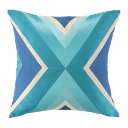 Trina Turk - Trina Turk Building Pillow-Blue - The Blue Building Pillow by Trina Turk is part of a line infused with bold signature prints and unique dynamic hues, Trina's modern and optimistic outlook meld the best of classic American design with a California confidence, incorporating beautiful fabrications and impeccable quality for the effortless elan and carefree glamour.