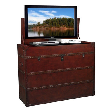 TVLIFTCABINET Antiquity TV Lift Cabinet - Enjoy both classic appeal and a modern touch with the TVLIFTCABINET Antiquity TV Lift Cabinet. The console is made with wood and covered with yards of hand-cut and applied distressed leather which is then finished with hundreds of individual hand-hammered antique nail heads.