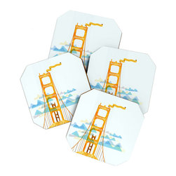 Golden Gate Coaster Set - If you've never crossed the Golden Gate Bridge, you must do so on your next trip to the city. It's an unforgettable experience. So much so that these coasters will serve as a constant and inspiring reminder of the iconic landmark. They come in an eco-friendly bamboo tray for keeping them safe and ready for your next cocktail party.