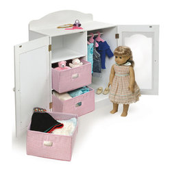 Badger Basket - Mirrored Doll Armoire with 3 Baskets and 3 Hangers - The place to store your most treasured doll accessories. Open one door to reveal three, handy baskets. Behind the other door you'll find a rod with three hangers ready for prized garments and gowns. Child-safe mirror lets your doll check her appearance before heading out to play! Top shelf offers an additional place to perch small items like Dolly's comb and brush. Doll not included.