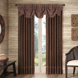 E & E Co., Ltd. - Cedar Ridge Clinton Falls Lined Window Curtain Valance - Create a warm, inviting atmosphere with these attractive window curtain panels. The lined panels feature a faux suede fabric bordered with yarn-dyed, blanket-weight plaid. Hang the panels with a rod pocket or use the back tabs for a more tailored look.