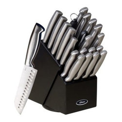 Oster Baldwyn 22 pc. Cutlery Block Set - Sturdily constructed of premium stainless steel, the Oster Baldwyn 22 pc. Cutlery Block Set brings precision performance to your home. Finished in polished silver, this set of professional quality knives, carvers and cleavers is rust and stain-resistant and features polished polyoxymethyleme handles for ergonomic comfort and durability. A handy 22-slot black storage box offers easy accessibility. Set Includes: 6.5-inch Santuko knife 8-inch chef's knife 8-inch carving knife 6-inch fork 6-inch cleaver 6-inch chef's knife 3-inch bird's beak paring knife 6-inch utility knife 3.5-inch paring knife 6-inch boning knife Eight 4.5-inch steak knives Kitchen shears Sharpening steel Black rubberwood knife block