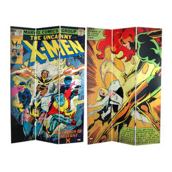 Oriental Furniture - 6 ft. Tall Double Sided the Uncanny X-Men Room Canvas Divider - Furniture grade limited edition folding screen with original graphic art from Marvel comics Uncanny X-Men, reproduced with quality digital print technology. A comic book cover from 1979 on one side, and an action scene featuring Jean Grey as the Dark Phoenix and the White Queen from the Hellfire Club on the other. Stylish American decorative accessory, perfect for studio, private office, or casual living space.