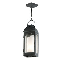 Troy Lighting - Troy Lighting Derby Outdoor Hanging Light X-7823F - Arched windows and an arched roof topped with a second tier help to draw the eye in to this Troy Lighting outdoor hanging light. From the Derby Collection, the Antique Iron finish compliments arched detailing and clear seeded glass window panes. For added appeal, the cast aluminum frame has been paired with a secondary interior antique ivory candle-shaped diffuser.