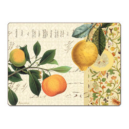 """Mandarin 4 Hardboard, Cork-Back,Orange/Fruit Placemats - Mandarin Cork-back, Non-skid, Hardboard 15.75"""" x 11.5"""" Table Mat/Placemats are produced using layered construction for years of carefree use. This beautiful designer art product is special ordered  for you from the manufacturer. It is not returnable and may take a little longer to receive."""