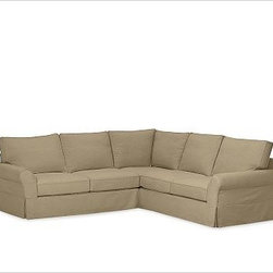 """PB Comfort Roll-Arm 3-Piece L Shaped Sectional Slipcovers, Brushed Canvas Sage - Designed exclusively for our PB Comfort Sectional, these soft, inviting slipcovers retain their smooth fit and remove easily for cleaning. Left 3-Piece Sectional with Box Cushions shown. Select """"Living Room"""" in our {{link path='http://potterybarn.icovia.com/icovia.aspx' class='popup' width='900' height='700'}}Room Planner{{/link}} to select a configuration that's ideal for your space. This item can also be customized with your choice of over {{link path='pages/popups/fab_leather_popup.html' class='popup' width='720' height='800'}}80 custom fabrics and colors{{/link}}. For details and pricing on custom fabrics, please call us at 1.800.840.3658 or click Live Help. All slipcover fabrics are hand selected for softness, quality and durability. Left-arm configuration is shown; also available in right-arm configuration. {{link path='pages/popups/sectionalsheet.html' class='popup' width='720' height='800'}}Left-arm or right-arm configuration{{/link}} is determined by the location of the arm on the love seat as you face the piece. This is a special-order item and ships directly from the manufacturer. To see fabrics available for Quick Ship and to view our order and return policy, click on the Shipping Info tab above. Watch a video about our exclusive {{link path='/stylehouse/videos/videos/pbq_v36_rel.html?cm_sp=Video_PIP-_-PBQUALITY-_-SUTTER_STREET' class='popup' width='950' height='300'}}North Carolina Furniture Workshop{{/link}}."""