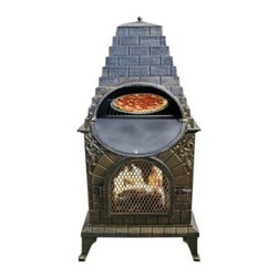 Deeco Aztec Allure Cast Iron Chimney Pizza Oven - The Deeco Aztec Allure Cast Iron Chimney Pizza Oven offers an outdoor fireplace with easy grill access. With a outdoor fireplace and oven to enjoy a fire and cook your dinner at the same time, it also has a stainless steel barbecue grill hidden behind the sunburst. The nature of the design of the Aztec Allure makes it's easy to cook pizzas up to 14 inches on the grill. This unique outdoor fireplace is perfect for those who enjoy cooking on a wood fire and are looking for quick grill access.