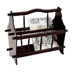 ORE International - Traditional Magazine Rack - Spindle design. Curved handle for easy access. Made from wood composite. 15 in. L x 8.5 in. W x 14 in. H (3 lbs.)Ideal for the home, office or den. Easily keep reading material close at hand with this traditional magazine rack. It is fashionable and functional addition to any room of your home.