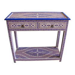 Badia Design Inc. - Moroccan Hand Painted Wooden Buffet Table, Purple - Our Moroccan Buffet Tables are made of wood and hand painted by our skilled Moroccan artisans in a multitude of bright and bold colors. It has two working drawers on the top and a large storage space at the bottom.