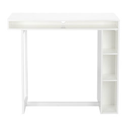 "public white 42"" high dining table -"