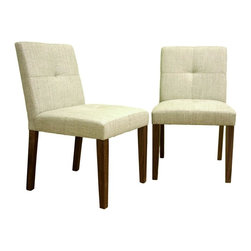 Wholesale Interiors - Baxton Studio Upholstered Wood-Leg Dining Sidechairs - 2-Piece Set - Crisp linen-look of white upholstery gives these attractive Baxton Studio dining chairs a sophisticated style. Classic mid-height parsons' chairs feature slender tapered wood legs and gently angled backs for a sleek silhouette. Seats and backs are generously padded for extra comfort, are enhanced by a decorative double-needle stitching detail. Elsewhere you'd expect to pay this price for just one of these handsome chairs. It�s easy to find a place to relax and dine in both comfort and style when these padded dining chairs are a part of your dining space. The entire seating area, both on the front and back, is lightly padded and upholstered in a universally-complemented neutral cream woven fabric. The legs are wooden with a medium-stained walnut veneer finish.