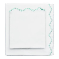 400 Thread Count Mint Green Scalloped Embroidered Sheet Set - The pretty shape of a seashell, the freshest colors of the season, and a scalloped embroidered hem make our sheets the ultimate source of luxury. Beautifully embroidered and super soft, our sheets are woven from 400 thread count extra-long staple cotton sateen.