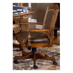 Hillsdale Furniture - Nassau Leather Game Chair - The seat is upholstered in genuine leather and the back is layered with brown leather and beautiful accents. Either way, buy a few today and sit down in style. Five wheels lend mobility to the chair and the sturdy base ensures the longevity of this finely crafted piece. Crested back is subtle and accented with nailhead trim. It is gracious seating for poker or dining with swiveling and casters for access. * Perfect for the home or office, dining room or game table, this chair is constructed out of durable Cherry wood.. The seat is upholstered in genuine leather and the back is layered with brown leather and beautiful accents.. Five wheels lend mobility to the chair and the sturdy base ensures the longevity of this finely crafted piece.. Brown leather seat. Cherry Finish. 22 in. W x 27 in. D x 38.25 in. H. Adjustable Chair Height. Seat Height: 18-21 in.