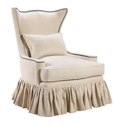 """Frontgate - Voltaire Skirted Chair - Comes with one 14"""" x 22"""" pillow. Contrasting trim on the back and arms. Features a tight back and a T-cushion for comfort and durability. Coordinates with other items from our French Heritage Country Home Collection. With a heavily ruffled skirt, gracefully curved back, and fresh but neutral fabric, our Voltaire Skirted Chair brings an air of fresh femininity to a traditional master bedroom, a transitional living room, or even a nursery.  .  .  .  ."""