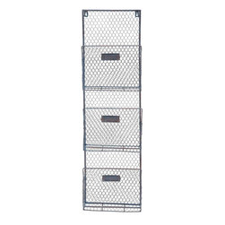 "Benzara - Creative Styled Gray Polished Wire Wall Baskets - Simply need simple baskets? Do you need baskets that have no frills or sharp edge, and come in a set of three? Well this wire wall basket comprises of three baskets attached to one stand that will put an end to your search. This wire wall basket can be used to store varying and various items. Store your utensils or your vegetables, or any other random thing, things like clothes can also be stored in them. Not only does it store, but it simplifies the whole process of storing. Guests paying a visit over your place will be surprised to check out striking wire wall basket. They have so sharp edges, and so there is no danger of hurting yourself when you are in a hurry. This wire wall basket can be the perfect gift your beloved wife. Wire basket measures 24 inches (Width) x 4 inches (D) x 15 inches (H); Grey color palette; Durable construction; Dimensions: 25""L x 5""W x 10""H"
