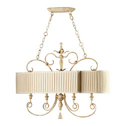 """Kathy Kuo Home - Maison French Country Antique White 4 Light Island Chandelier - The Maison Chandelier brings the French countryside to every room.  Constructed from wrought iron finished in a proprietary """"Persian White"""" finish add antiqued elegance to this four light island chandelier.  Sophistication meets country classic at its best."""