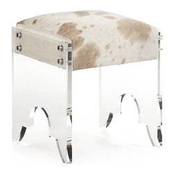 "Zentique - Lars Stool by Zentique - ""Very Cool Stool"". Clear acrylic is anchored to a thick cushion covered in tan and white cowhide creating an awesome vanity stool from Zentique. Store two of them beneath a console table for additional seating when needed. They almost become invisible. (ZEN) 18"" wide x 21"" high x 17"" deep"