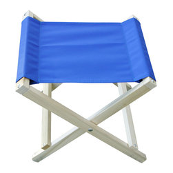 Shark Shade - Wood Frame Folding Stool, Blue - When you really need save on space but want comfort to lounge around a campfire, tailgate parties, soccer games, camping trips, and good times with friends and family. This lightweight folding stool is portable enough to accompany you anywhere, yet is also attractive enough to become a fixture on your cabin porch. Built with American hardwood and constructed with industrial materials to last through years of outings.