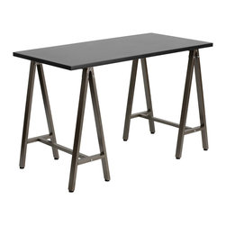 Flash Furniture - Flash Furniture Black Computer Desk with Brown Frame - NAN-JN-2834W-BK-GG - This spacious desk has an architectural appeal with its leg design. This desk shows off a sleek appeal that will complement any contemporary work space. [NAN-JN-2834W-BK-GG]