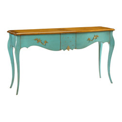Kathy Kuo Home - Beauvoir French Country Cherry Wood Turquoise Blue Console Table - The petite proportions of this turquoise French Country console are an elegant accent in any romantic room. Detailed with gold-studded hardware, two curved drawers open to offer storage, adding color and character against a sofa, in a hallway or beautifying a bedroom. Made to order in Europe; please allow 4 months lead time to ship.