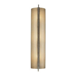 "Minka-Lavery - Clarte Wall Sconce No. 4393 by Minka-Lavery - The Minka-Lavery Clarte Wall Sconce No. 4393 will indeed bring ""clarte"" (or, clarity) to a hallway or entryway. It sheds warm, golden light through its cylindrical shade of dappled Deep Spumanti Lace glass. This is held in place by a single bar frame finished in a complementary Patina Iron. ADA compliant. Minka-Lavery, recognized as a leader in modern elegance, offers decorative lighting with high quality craftsmanship in a variety of materials, including solid brass, wrought iron and cast aluminum. Located in Corona, CA, the Minka Group is branched into three providers that offer creative designs as well as timeless classics: Minka-Lavery lighting, Minka Aire fans and George Kovacs lighting."