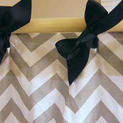 Shower Curtain, Zig Zag, Ash Gray by Elisabeth Michael - Check out these cute chevron shower curtains. The bows make them extra fun.