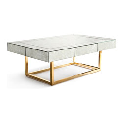 Delphine Mirrored Cocktail Table - I would love to welcome one of these Delphine cocktail tables into my living room. It comes complete with a hidden drawer for glamorous remote storage, so you'll never have to hunt for it again.