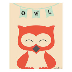 Oh How Cute Kids by Serena Bowman - Mod Owl in Cream, Ready To Hang Canvas Kid's Wall Decor, 8 X 10 - Each kid is unique in his/her own way, so why shouldn't their wall decor be as well! With our extensive selection of canvas wall art for kids, from princesses to spaceships, from cowboys to traveling girls, we'll help you find that perfect piece for your special one.  Or you can fill the entire room with our imaginative art; every canvas is part of a coordinated series, an easy way to provide a complete and unified look for any room.
