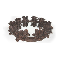 Go Home - Round Iron Serving Tray with Candleholders - Stylish Round Iron Serving Tray with Candle holders is perfect gift idea.Iron roses are attach all round the tray in which you can put candles that give beautiful look.A perfect addition to your serve ware.It is made with iron , mirror and have rustic finish.