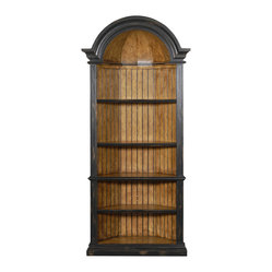 Ambella Home - Agatha Corner Cabinet - This cabinet tucks neatly into a corner in your dining room, living room or den, but it's no wallflower. The antique ebony finish elevates the piece to a sophisticated display case.