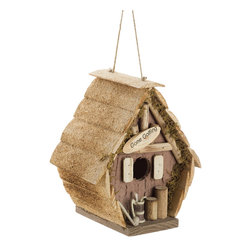 """KOOLEKOO - Gone Golfing Birdhouse - Score a """"birdie"""" with this clever little golfing hut! Quaint raw wood birdhouse is a cozy cabin for a family of sporting sparrows, with an amusing collection of clubs and """"gone golfing"""" sign."""